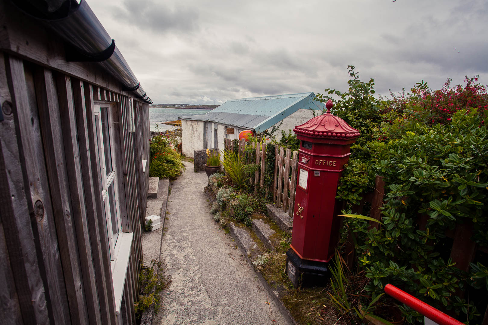 Red post box on Iona in Scotland
