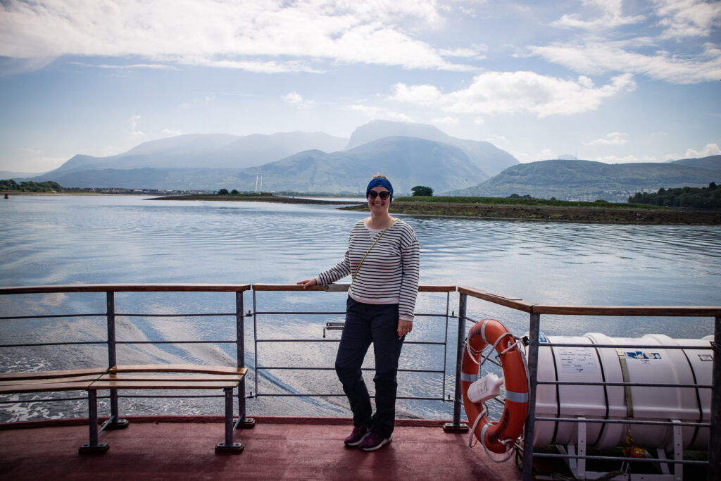 Me on board the Crannog Cruise boat with Ben Nevis in the background