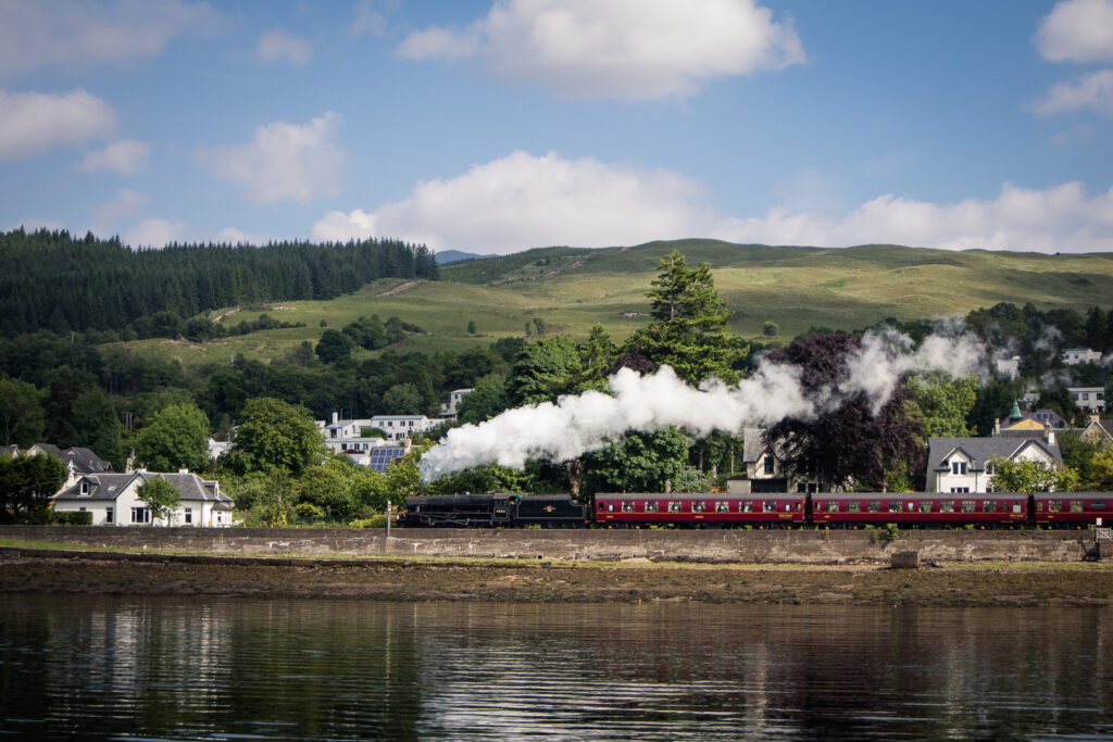 The Jacobite Steatm Train next to Loch Linnhe